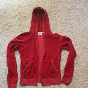 Velour red zip up hooded jacket ❣🔥❣